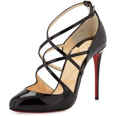 Christian Louboutin Soustelissimo Strappy Red Sole Pump featuring polyvore, women's fashion, shoes, pumps, heels, christian louboutin, black, almond toe pumps, black high heel shoes, black pumps, black ankle strap pumps and strappy pumps