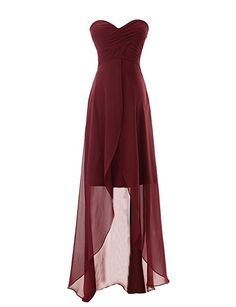 Diyouth Long Sweetheart Chiffon Bridesmaid Dresses Elegant High-low Evening Gowns Burgundy Size 12