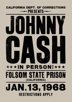 Johnny Cash concert poster. On January 13th, 1968 Johnny Cash played the 1st of…