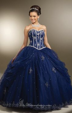 MZ0248 Sweetheart Corset Bodice Ball Gown Blue Tulle Appliqued Dresses Quinceanera Dresses $179.99