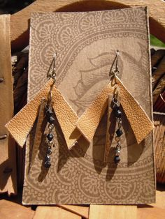 Geometric Leather Dangle Earrings/ Upcycled by FuriousDesigns, $15.00