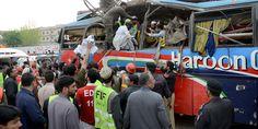 Four killed when a passenger bus skids off in #Peshawar