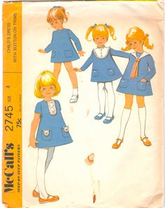 McCalls 2745 1970s Toddlers A Line Dress Pattern Button Trim Sailor Collar Girls Vintage Sewing Pattern Size 3 Breast  22