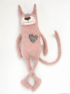 Wool Stuffed Animal Lanky Cat from Upcycled by sweetpoppycat