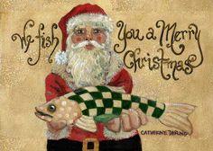 Christmas Santa original painting, PRINT, Fish, 5x7, Holiday, Green, red, Cathy Darling