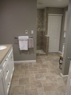 Stunning Tile Floor Designs for Kitchens Room : Excellent Kitchen Interior Ideas : Cool Traditional Bathroom Design With White Wooden Cabinet And Rustic Tile Pattern Ideas Bathroom Floor Tiles, Bathroom Renos, Bathroom Colors, Bathroom Ideas, Master Bathroom, Beige Tile Bathroom, Bathroom Designs, White Bathroom, Kitchen Tile