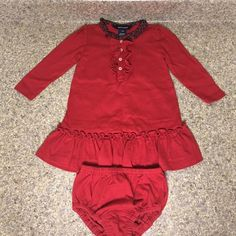 Baby Ruffle Dress  Perfect condition. Long sleeve cotton material, ruffle dress with buttons. Diaper cover included. Only used once ❣ Ralph Lauren Dresses Long Sleeve