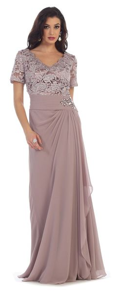 This elegant mother of the bride groom floor length dress comes with short sleeve, lace, broach and pleated chiffon material. This dress is great for wedding, evening party and other special occasion.