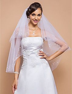Gorgeous Two-tier Fingertip Wedding Veil With Beaded Edge An... – USD $ 29.99