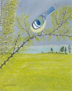 Adolf Dietrich - Blue tit on a brach of a larch, 1946 (Primitivism) Reminds me of some of the work being done today by crafters.  WikiArt.org