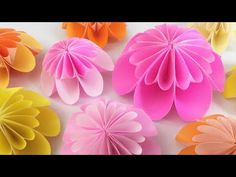 【折り紙】ピンポンマム(菊)とリース Pom pom mum &Wreath - YouTube