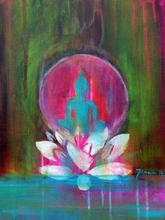 """Spirit of ZEN"" 40 x 30 cm Boeddha Boeddha / / cadeau voor hem / / cadeau voor u / / Buddha Kunst print op canvas / / Yoga / / Lotus"