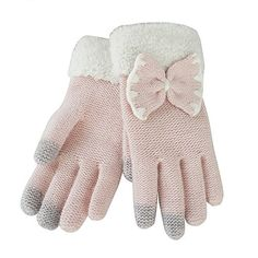 Bestgle Girls Women Lovely Chic Bowknot Smart Knitted Winter Touchscreen Glove Fashion Winter Warm Gloves Pink *** You can get additional details at the image link. (This is an affiliate link)