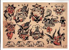 Sailor Jerry, Flash Sheet, T Shirt Design. Vulture Graffix Online Mail order T… Sailor Jerry Tattoo Flash, Sailor Tattoos, Tattoo Flash Sheet, Tattoo Flash Art, Borneo, Tattoo Tradicional, Old School Ink, Vintage Flash, Traditional Tattoo Flash