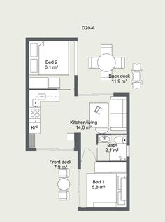Our most requested layout of two units with kitchen, bathroom and one or two bedrooms. There is open space in the center and privacy with the separated bedrooms. The layout can be modified to suit your requirements. Shipping Container Home Designs, Container House Design, Tiny House Design, House Plans Mansion, Bedroom House Plans, House Floor Plans, Two Bedroom, Casas Containers, Building A Container Home
