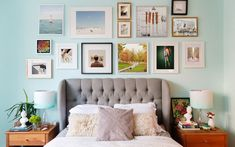 A must-see gallery wall makeover. Interior designer Laura Weatherbee gives her art hanging tips on building the perfect gallery wall. Learn to arrange the best gallery wall for your living room or bedroom. For more wall ideas go to Domino. Gallery Wall, Decor, Bedroom Design, Wall Decor Bedroom, Bedroom Wall, Bedroom Decor, Interior Design Styles, Home Decor, Eclectic Bedroom