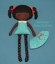 Rag Doll Pattern Fabric Doll Black Doll PDF by rainbowrosedollco