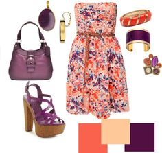 """Coral, Light Pink, Purple Outfit """"orange and plum"""" by elaine-koenig-delgado on Polyvore"""
