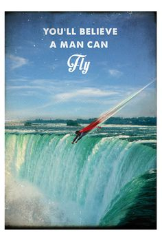 Superman retro style poster movie. Niagara Falls Landscape. Available in different sizes. Vintage geek superhero print. #artwork #print #poster #superman #superhero #geek #niagarafalls #wallart #digitalprint