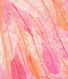 Flamingo feather silk scarf by Rawaan Alkhatib