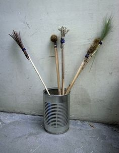 make paintbrushes with different materials (just fasten with wound wire)