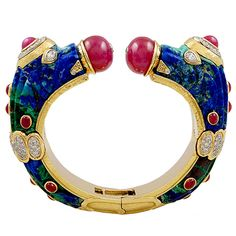 DAVID WEBB Cabochon Ruby, Azurmalachite, Diamond 2 Headed Dragon Bangle | From a unique collection of vintage bangles at https://www.1stdibs.com/jewelry/bracelets/bangles/