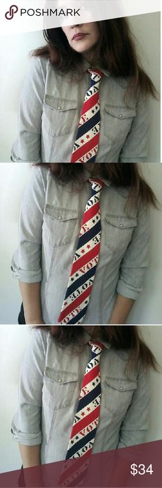 """Vintage 60s ELECTION DAY Novelty Print VOTE Tie Perfect timing for this crazy election year! Vintage 60s unisex patriotic VOTE tie. 100% heavy duty cotton fabric.? Bright red, white, and blue. The word """"Vote"""" diagonally across in stripes. Excellent condition!?  Less than one month away to reveal who we choose as our next president. Crossing my fingers! #nervous  51-1/2"""" long total 4"""" at the widest area  Fast shipping! Vintage  Other"""