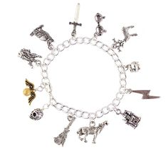 Silver Plated Harry Potter Charm Bracelet- Pewter Charms, Golden Snitch- Fantasy Fan Jewelry- Sizes XS-XL >>> You will love this!