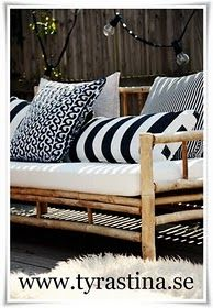 Handmade Home: Creating My Dream Patio Outdoor Rooms, Outdoor Sofa, Outdoor Living, Outdoor Decor, Outdoor Seating, Outside Furniture, Bamboo Furniture, Bamboo Sofa, Cane Outdoor Furniture