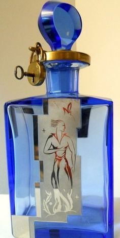 1920's art deco perfume bottle with lock and key.
