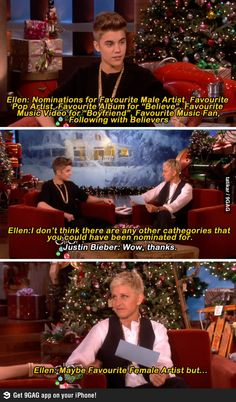 Oh dear lord, I love Ellen. She burned Bieber! You can tell she kinda hates him too...<< hahahaha