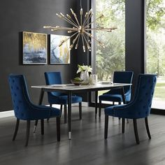 Dining Room Blue, Dining Room Table Decor, Luxury Dining Room, Dining Chair Set, Dining Room Design, Living Room Decor, Navy Blue Dining Chairs, Tufted Dining Chairs, Lounge Chairs