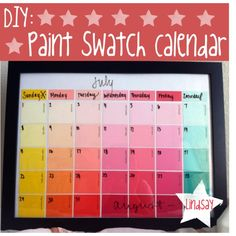 """DIY: Paint Swatch Calendar"" by thehowtogirlies on Polyvore"