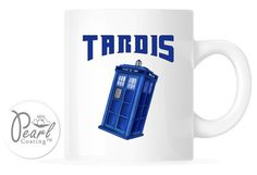 Tardis Doctor Who 11 oz. White Ceramic Coffee Tea Cup Mug Gift Brand New  #PearlCoatedCeramic