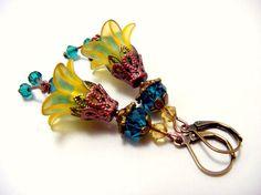 Dangle earringslucite flower earringsorange by artemisartdesign Etsy Earrings, Dangle Earrings, Lucite Flower Earrings, Plastic Flowers, Dangles, Teal, Bronze, Boho, Crystals