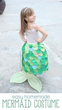 Adorable Homemade Mermaid Costume. This would be great for pretend play!