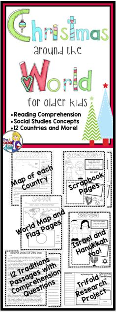 This Christmas Around the World for Older Kids unit is a great way to integrate reading strategies and social studies concepts, while learning about something fun and thematic during the month of December. 12 countries with comprehension passages, map skills, scrapbook pages, and a trifold - mini-research unit. Your kids will LOVE this unit! (TpT Resource)