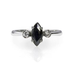 Black Sapphire Engagement Ring with Diamonds
