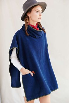 RTH X Urban Renewal Remade Funnel-Neck Blanket Poncho - Urban Outfitters