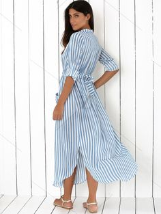 Long Sleeves Striped Lapel Maxi Dress BLUE: Maxi Dresses | ZAFUL