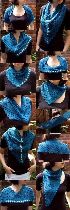 Multiplicity shawl/scarf. Free crochet pattern and many ways to wear it!