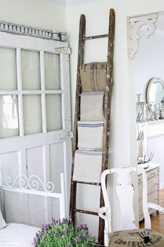 Dishfunctional Designs: Old Ladders Repurposed As Home DecorYou can find Old ladder and more on our website.Dishfunctional Designs: Old Ladders Repurposed As Home Decor Decor, Stair Decor, Rustic Furniture, Ladder Decor, Shabby Chic Furniture, Shabby Chic Room, Shabby Chic Rug, Shabby Chic Homes, Chic Home Decor