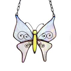 White  Butterfly Suncatcher  Stained Glass  Original by recircles9