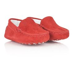 Tods Red Suede Moccasin Pre Walkers