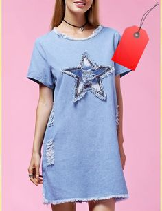 Fashionable Women's Plus Size Star Appliques Short Sleeve Demin Dress