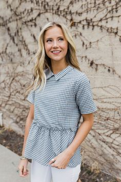 Georgina Ruffle Blouse in Powder Blue | ROOLEE  #ROOLEEfave