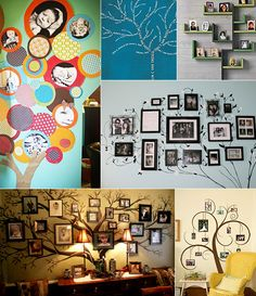 I absolutely love these ideas for displaying family photos.  Very creative - very me!