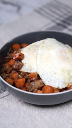 Sweet potato, bacon and perfectly fried eggs create a union so delicious you'll want it for lunch and dinner too.