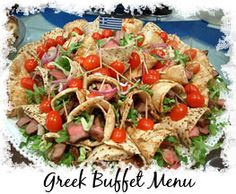 Greek Buffet Table Setting and party Food Decoration
