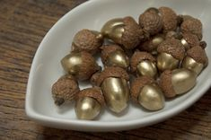 DIY Gold Leaf Painted Acorns | Victoria Allison Jewelry - Blog